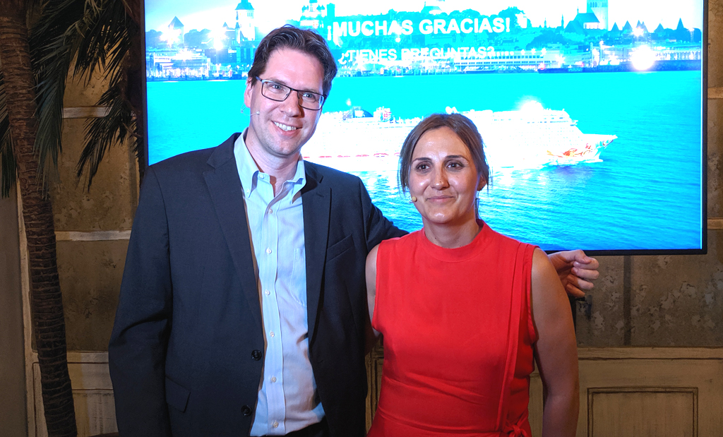 Kevin Bubolz (izquierda) y Sonia López durante en la presentación este miércoles en Madrid.