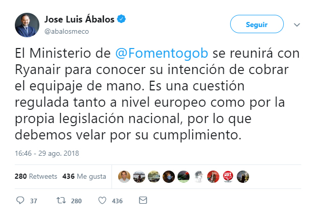 474c0255c El ministro de Fomento, José Luis Ábalos, publicó un tweet este miércoles en  el